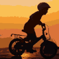 Kid on a bicycle