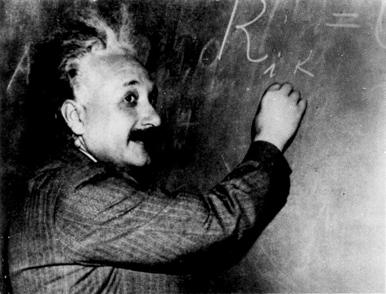 Einstein at blackboard