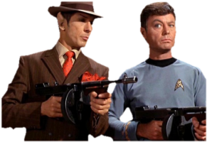 Spock and McCoy as mobsters