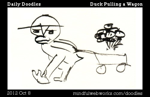 Duck Pulling a Wagon