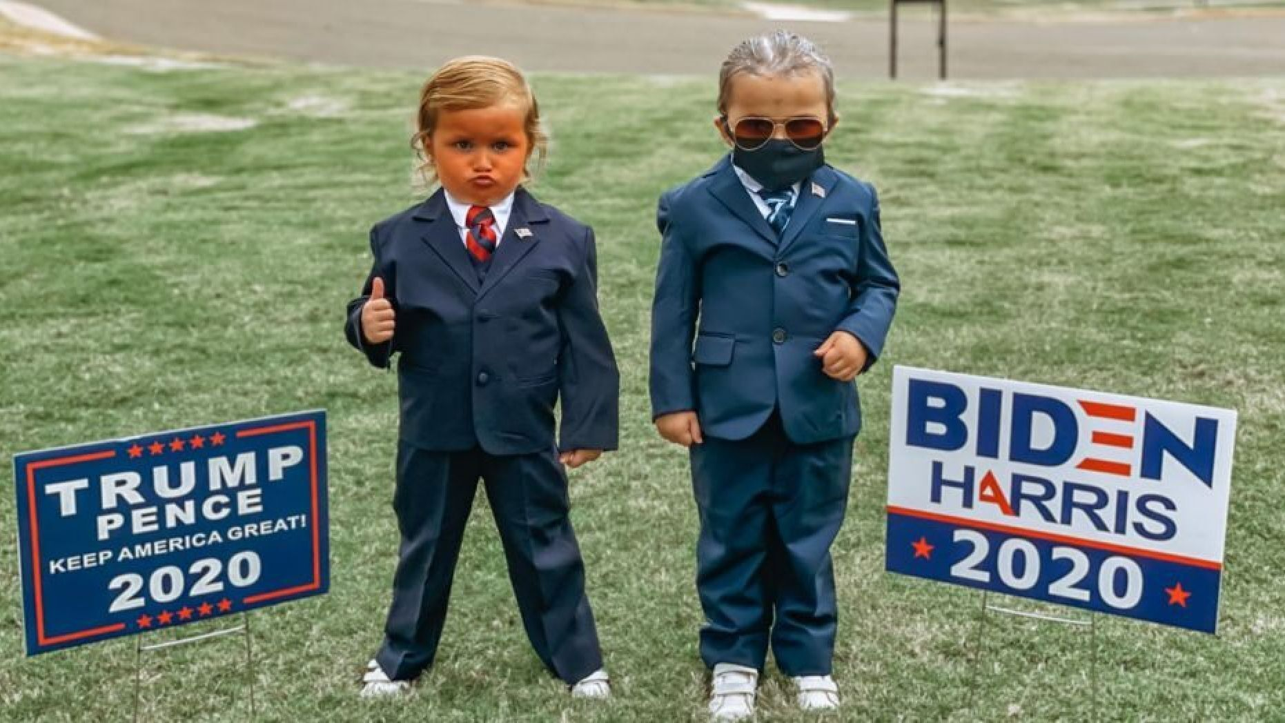 Toddlers dressed as candidates