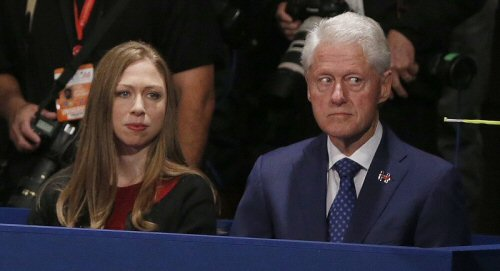 Guilty-looking Bill at the debates