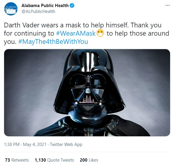 Darth Vader wears a mask
