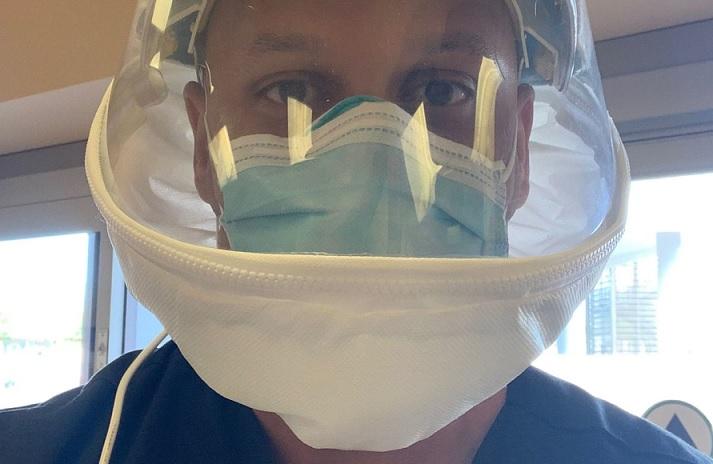 Dr. Cleavon Gilman wearing head bubble