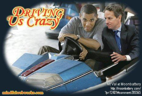 Barry and Tim in a bumper car