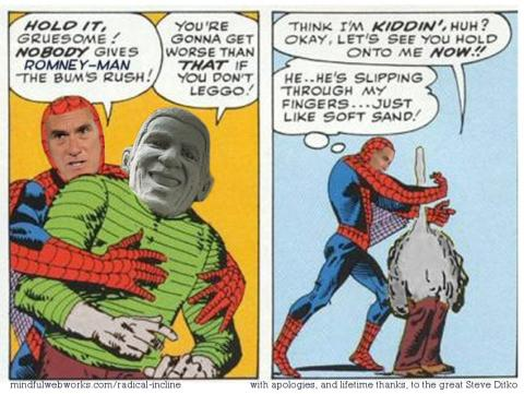 Two panels from Spider-Man comic, modified