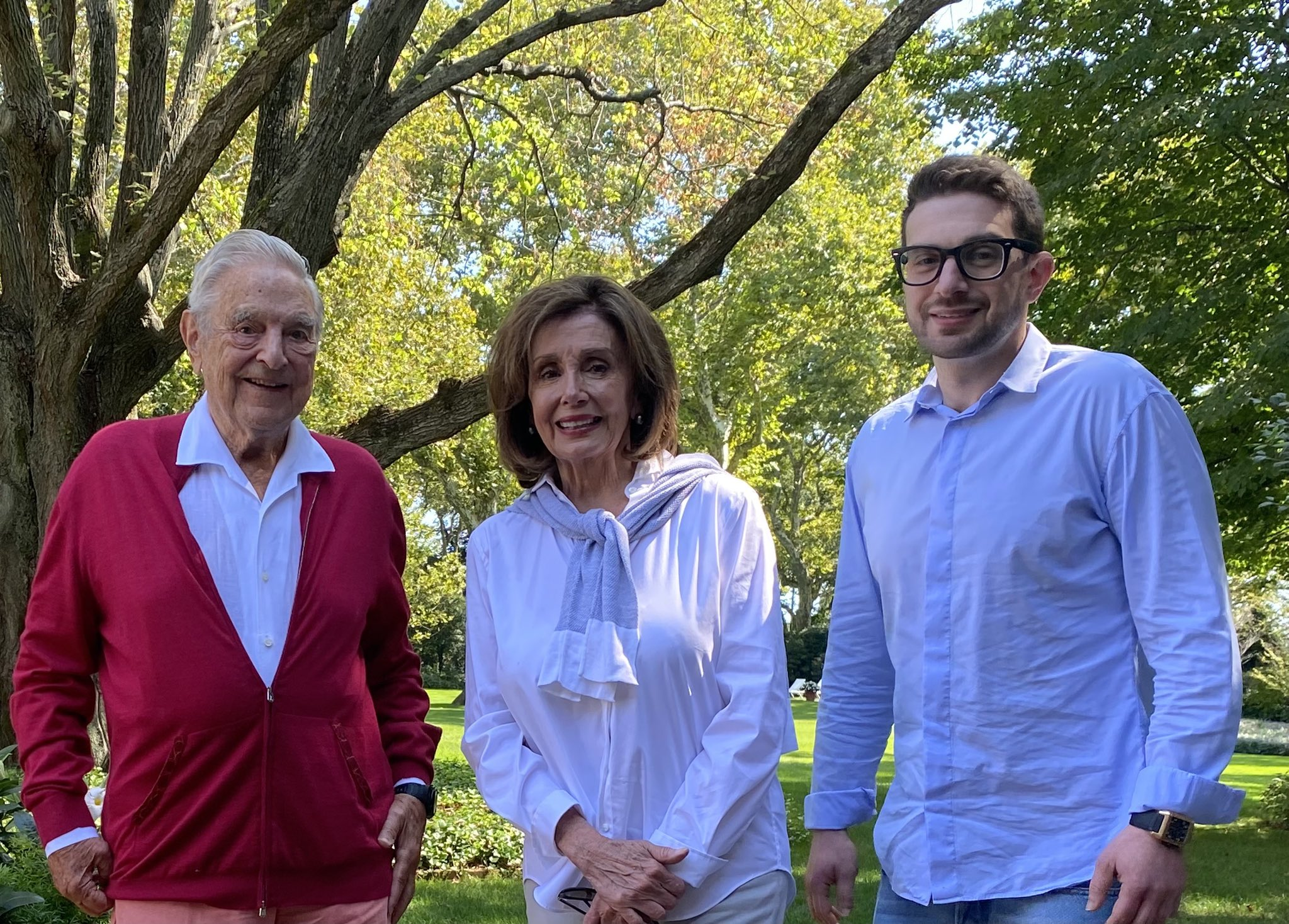 Pelosi with G Soros and son