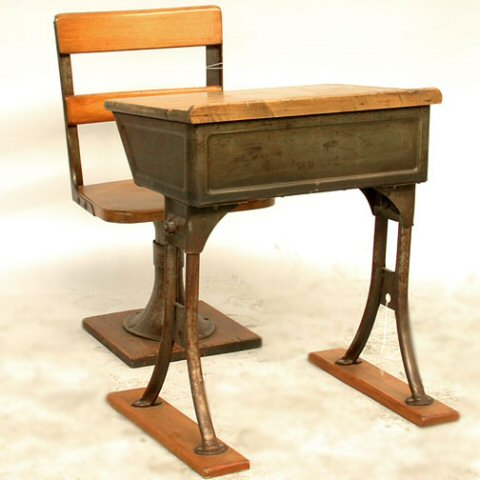 Schooldesk, old and heavy
