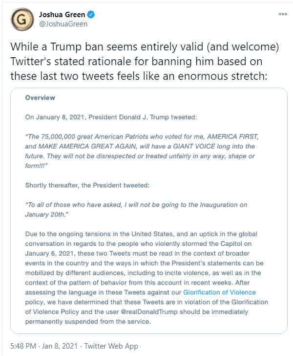Twitter's excuses for banning Trump