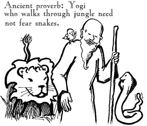 Ancient proverb: Yogi who walks through jungle need not fear snakes.